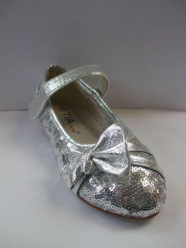 Girls Sparkly Silver Sequine Party Occasion Shoe