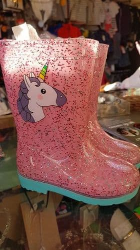 Girls Toddler Pink Sparkly Unicorn Wellington Boots
