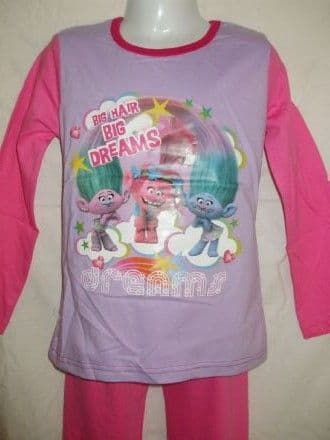 Girls Trolls Print Long Pyjama Set