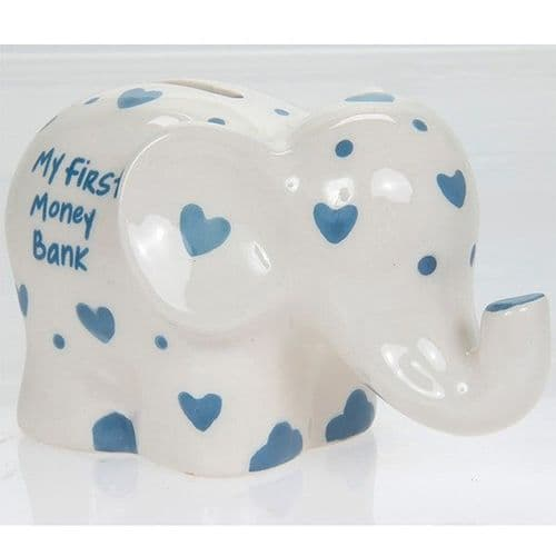 My First Elephant Money Box with Blue or Pink Hearts - Small