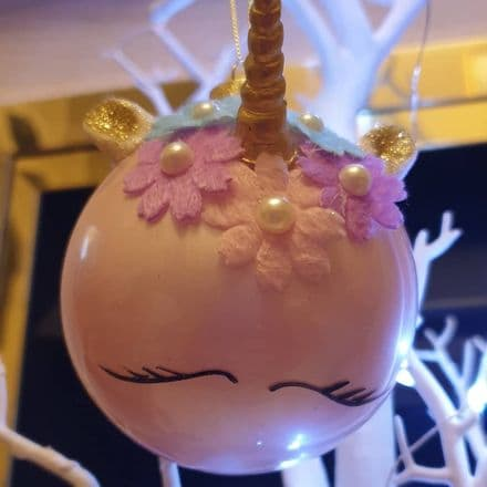 Pale Pink Unicorn Christmas Bauble