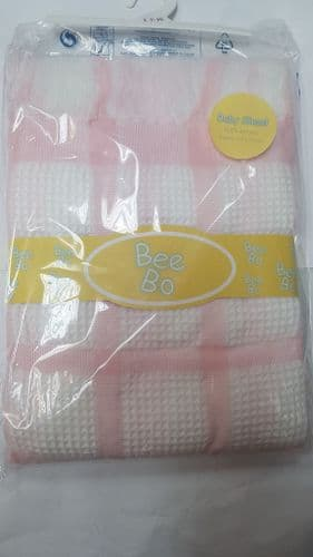 Pink and White Square Pattern Baby Shawl / Blanket