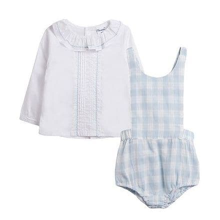 Spanish Blue Check Dungarees & White Shirt Set by Newness