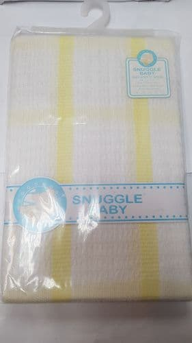 White and Yellow Square Pattern Baby Shawl  / Blanket