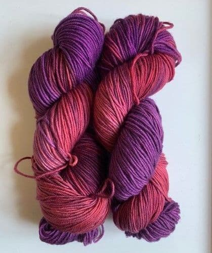 Apples & Pears Fine merino DK - Red and overdyed purple