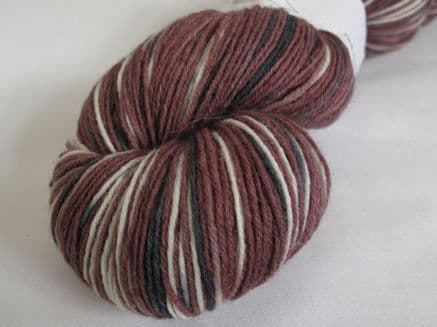 Dark chocolate, white and black sock yarn