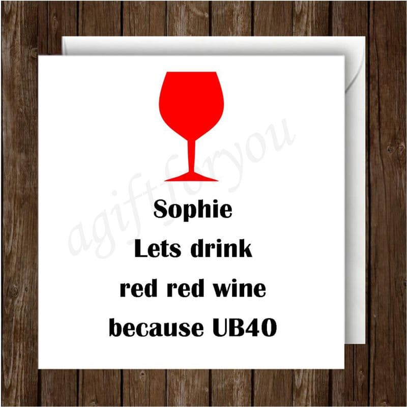 Personalise with 1 name Red Red Wine Greeting Card