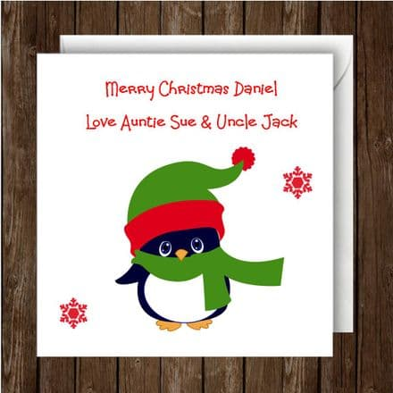 Personalised Christmas Card Penguin Green Scarf