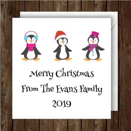 Personalised Christmas Card Penguins. Single or Pack of 10