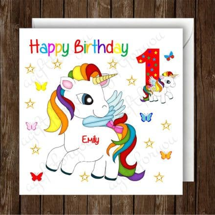 Personalised Girls Unicorn Birthday Card  UN1