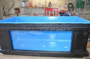 2100 litre (575 gallon) holding pond with viewing window
