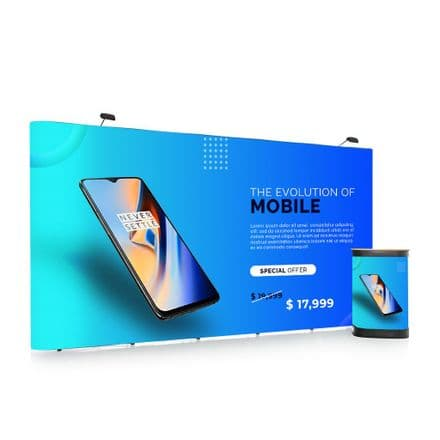 Curved Bundle Banner Stand With Frame , Case and Lights - CCIMCU-99-XX-071