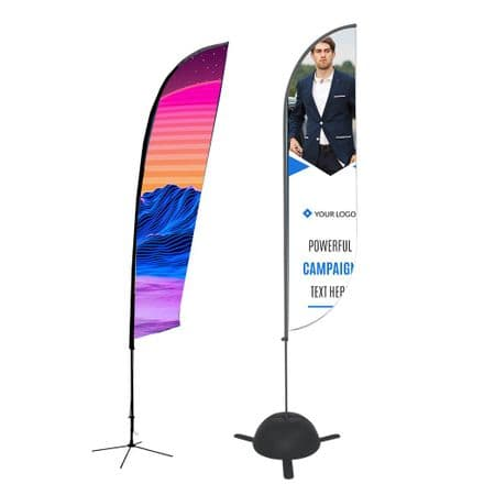 Lightweight Flexible Flag System With Black Finish All Fibre Poles Banner Stand - CCZOUF-ZM-SM