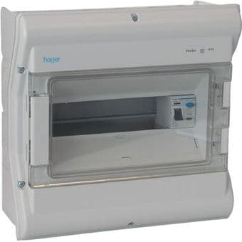 Hager VW310G 10 Way IP55 Rated Consumer Unit + 100A 30mA RCD