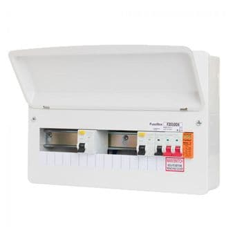 FuseBox F2010DX100 10 Way Dual 100A Type A RCD Consumer Unit + Surge Protection