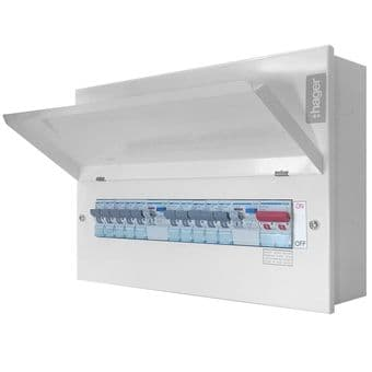 Hager 10 Way Consumer Unit VML755RKO Populated + Dual RCD Metal