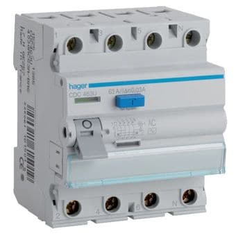 Hager CDA463U RCD Four Pole 63A 30mA Residual Current Device for Circuit Protection