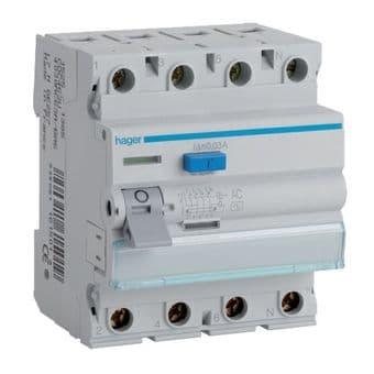 Hager CDA684U RCCB Four Pole 100A 30mA RCD Residual Current Device