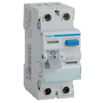 Hager CEA225U RCCB Two Pole 25A 100mA RCD Residual Current Device