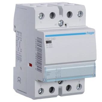 Hager ESC240 40A Contactor 2NO 230v 4 module din rail mount