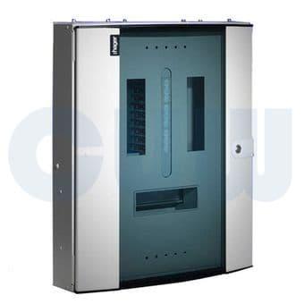 Hager JK224BG 24 Way Three Phase Distribution Board 250A - Invicta 3 TPN Glazed Door