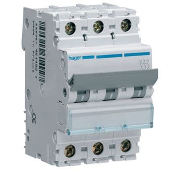 Hager NCN340A MCB Type C Triple Pole 40A Overload 10kA Short Circuit