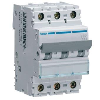 Hager NCN363A MCB Type C Triple Pole 63A Overload 10kA Short Circuit