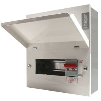 VML106 Hager 6 Way Consumer Unit. 100a Main Switch. Design 10 Metal Enclosure
