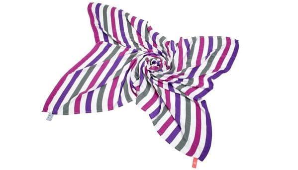 Great Swandoodle - Bamboo Muslin Blanket Happy Purple Stripes