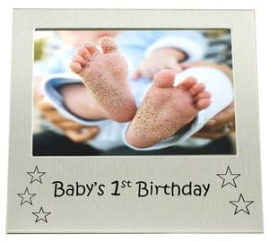 Baby's 1st Birthday - Picture Size 5 x 3.5 Inches - Brushed Aluminium Silver Colour