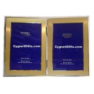Gold Colour Double Photo Frame - Two Photos 6 x 4 inches