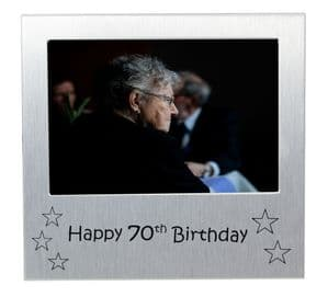 Happy 70th Birthday - Photo Frame Gift - Photo Size 5 x 3.5 Inches (13 x 9 cm) - Brushed Aluminium Satin Silver Colour.