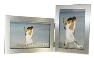 Satin Silver Colour Twin 2 Picture 6 x 4 Folding Photo Frame Gift