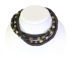 Set Of 4 - Coco Wood Bead Elasticated Surfer Style Choker Necklaces - STYLE B