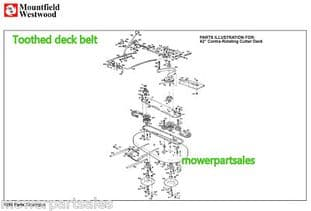 """WESTWOOD T1400 T1800 42"""" CONTRA DECK TIMING TOOTHED COGGED MOWER BELT REPLACES 6732 & WE6732"""