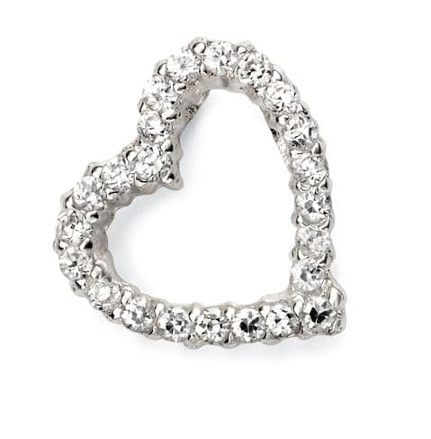 Beginnings Silver Pave Open Heart Pendant P4576C