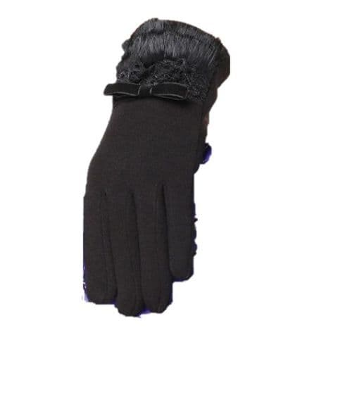 Black Faux Fur and Lace Gloves
