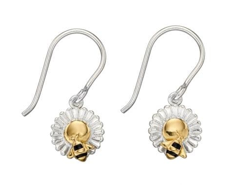 Elements Silver Bee and Flower Gold Plate Earrings E5818