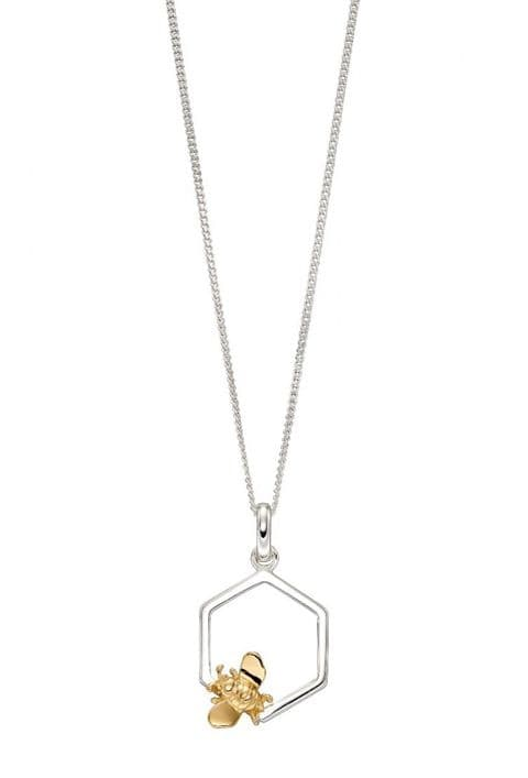 Elements Silver Bee and Honeycomb Mix Plate Pendant P4839
