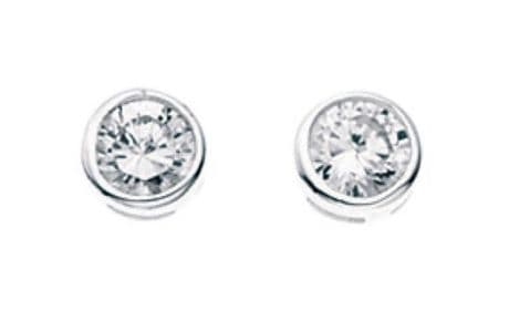 Elements Silver Cubic Zirconia Round Stud Earrings E198C