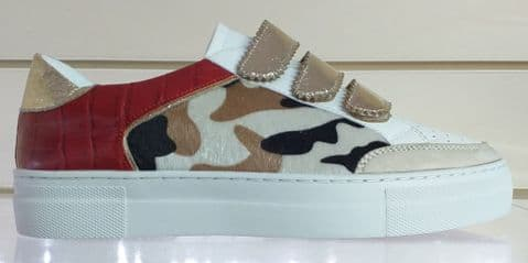 Findlay Red and Gold Print Trainers