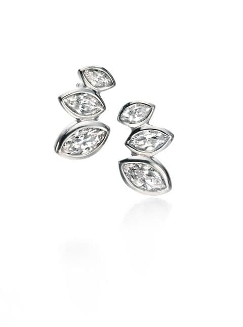 Fiorelli Silver Clear CZ Marquise Cluster Stud  Earrings E5079C