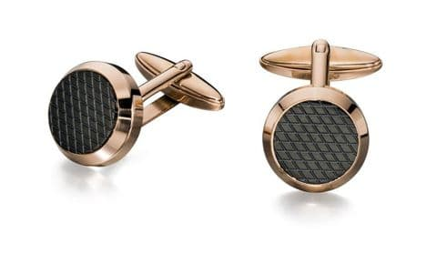 Fred Bennett Rose Gold and Black Round Cufflinks V498
