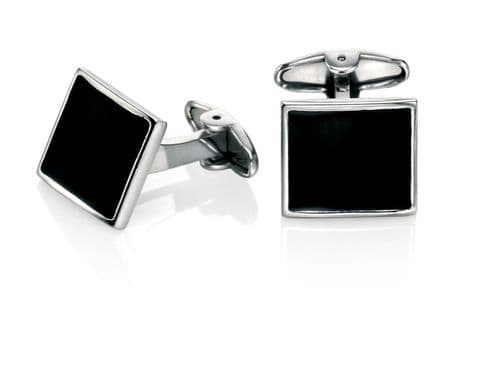 Fred Bennett Stainless Steel Black Enamel Cufflinks V467