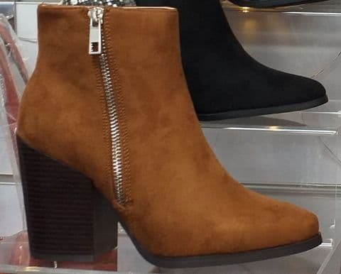 Ideal Shoes Tan Ankle Boots