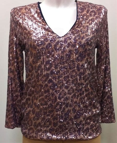 Latte Gold Animal Print Sequin Top