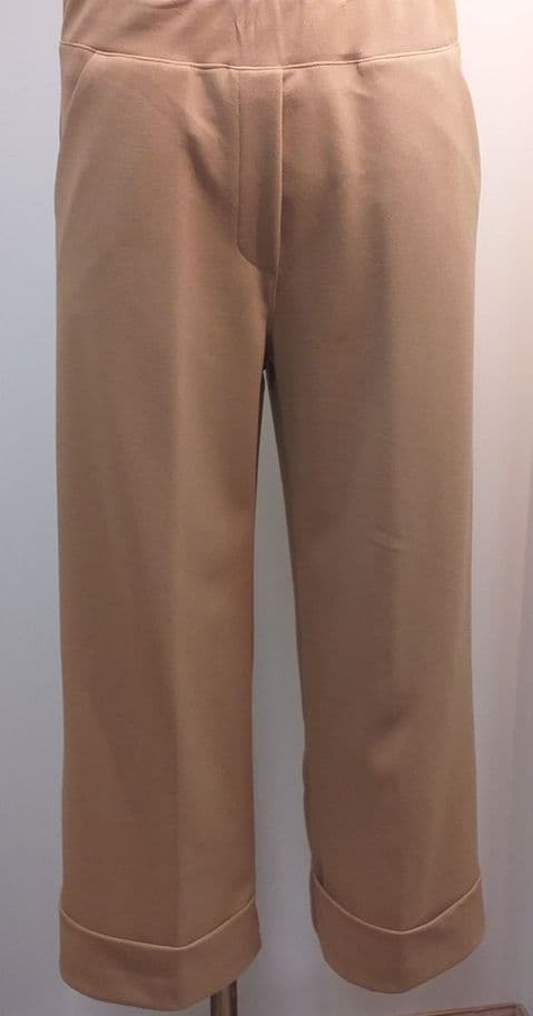 Latte Tan Wide Leg 7/8 Trousers