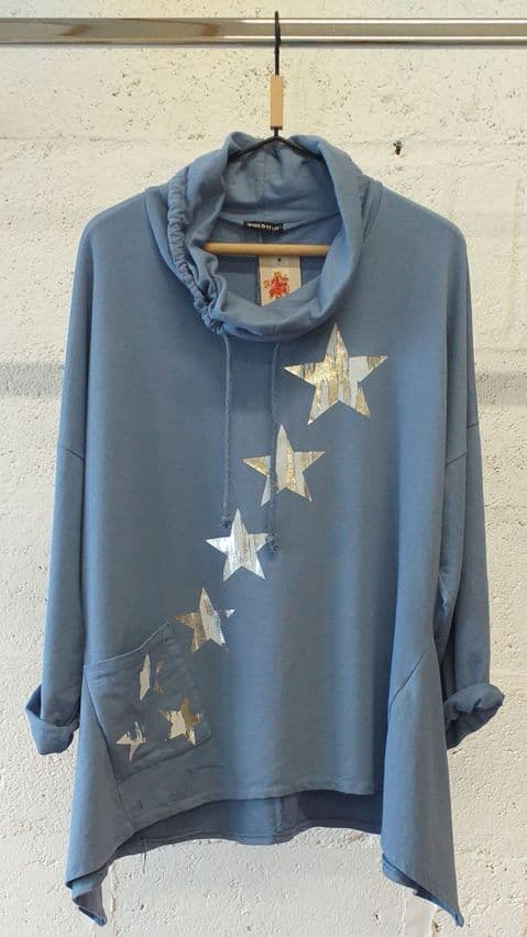 Made in Italy Blue Star Sweatshirt