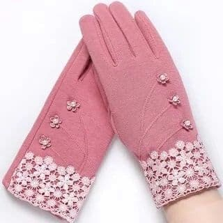 Pink Lace detail Gloves