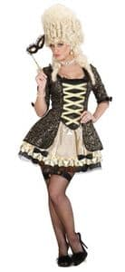 Black Baroque Queen fancy dress costume - ladies Masquerade ball costume